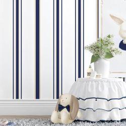 Papel de Parede Listrado Luxo Azul Marinho 3m