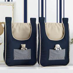 Porta Fraldas Varão Listrado Luxo Azul Marinho
