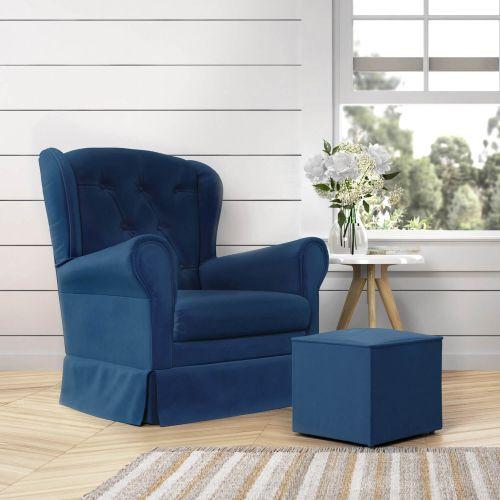 Poltrona Amamentação Balanço com Puff Provençal Azul Marinho
