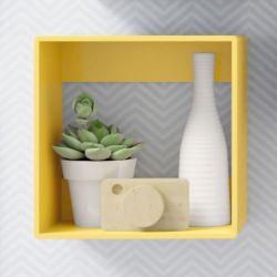 Nicho de Madeira Quadrado Amarelo 25cm