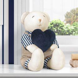 Urso com Coração Luxo Azul Marinho 45cm