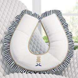 Almofada Amamentação com Babado Urso Luxo Branco/Azul Marinho
