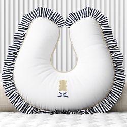 Almofada Amamentação Urso Luxo Branco e Azul Marinho