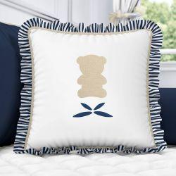 Almofada Urso Luxo Branco/Azul Marinho com Babado 38cm