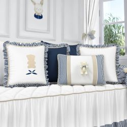 Almofadas Luxo Branco/Azul Marinho 4 Peças