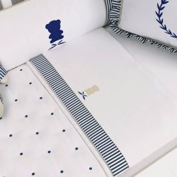 Jogo de Lençol Berço Urso Luxo Branco/Azul Marinho