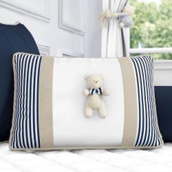 Almofada Retangular Tricot Ursinho Listrada Branco/Azul Marinho e Bege 43cm