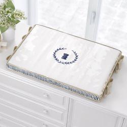 Trocador de Fraldas Luxo Branco/Azul Marinho