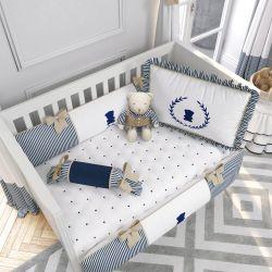 Quarto de Bebê Luxo Branco/Azul Marinho