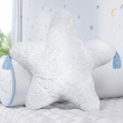 Almofada Estrela Pelúcia com Tassel Azul 38cm