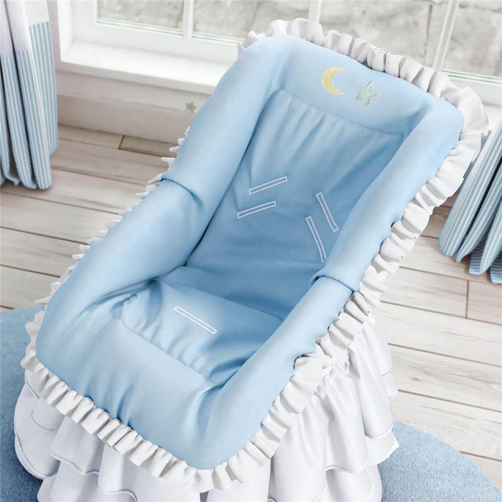 Capa para Bebê Conforto Lua e Estrelinha Azul Grão de Gente