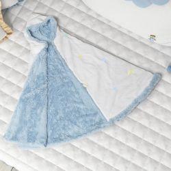 Manta com Capuz Luas e Estrelinhas Azul