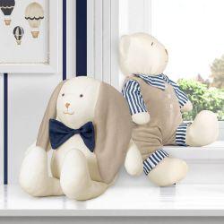 Urso e Coelho Luxo Azul Marinho 42cm