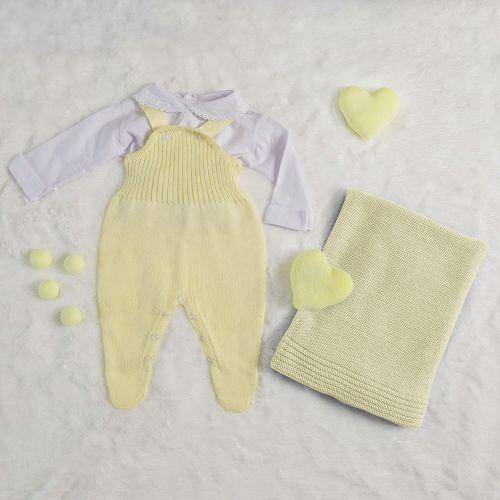 Saída Maternidade Tricot Jardineira Amarela