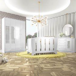 Quarto de Bebê Palace com Berço/Cômoda/Guarda-Roupa 4 Portas