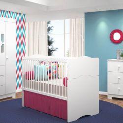 Quarto para Bebê New Cristal com Berço/Cômoda/Guarda-Roupa de 4 portas