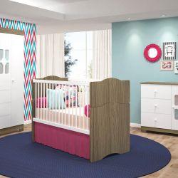 Quarto para Bebê New Cristal Amadeirado com Berço/Cômoda/Guarda-Roupa de 4 portas