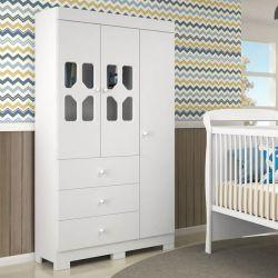 Quarto para Bebê New Cristal com Berço/Cômoda/Guarda-Roupa de 3 portas