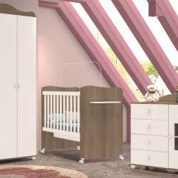 Quarto para Bebê Enzo Amadeirado com Berço/Cômoda/Guarda-Roupa de 4 portas