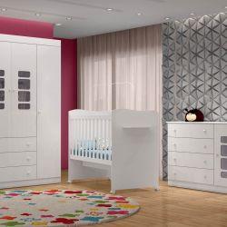 Quarto para Bebê Lis com Berço/Cômoda/Guarda-Roupa de 4 portas