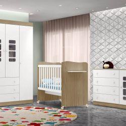 Quarto para Bebê Lis Amadeirado com Berço/Cômoda/Guarda-Roupa de 4 portas