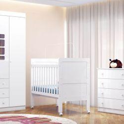 Quarto para Bebê Lis com Berço/Cômoda/Guarda-Roupa de 3 portas