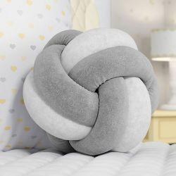 Almofada Nó Balú Branca/Cinza 25cm
