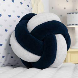 Almofada Nó Balú Branca/Azul Marinho 25cm