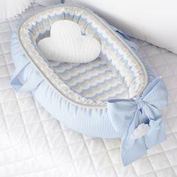 Ninho para Bebê Redutor de Berço Tricot Estampado Azul
