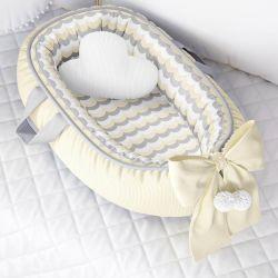 Ninho para Bebê Redutor de Berço Tricot Estampado Amarelo