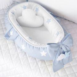 Ninho para Bebê Redutor de Berço Tricot Estrelinhas Azul