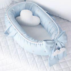 Ninho para Bebê Redutor de Berço Tricot Poá Azul