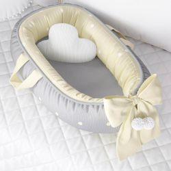 Ninho para Bebê Redutor de Berço Tricot Poá Amarelo