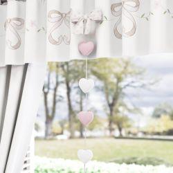 Pêndulos Cortina Coração e Florzinhas