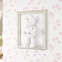 Quadro Ursa Branca com Coração Estampado