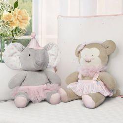 Bichinhos de Pelúcia Macaquinha e Elefante Baby do Circo 2 Peças
