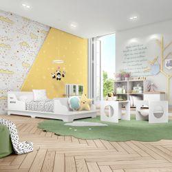 Quarto Montessoriano Cadu com Mini Cama/Cadeira Cubo/Estante