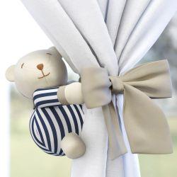 Prendedor de Cortina Urso Luxo Branco/Azul Marinho