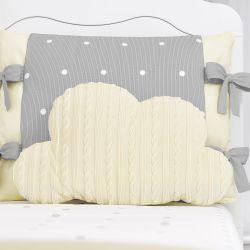 Almofada Nuvem Tricot Poá Amarela 50cm