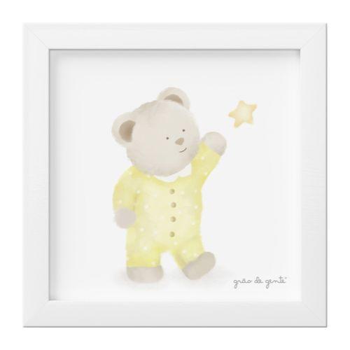 Quadro Ursinho e Estrela Amarelo