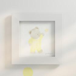 Quadro Ursinho e Estrela Amarelo 20cm