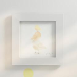 Quadro Passarinhos Amarelo 20cm