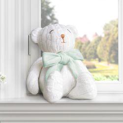 Urso Tricot Off White/Verde 42cm
