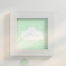 Quadro Nuvem Verde 20cm