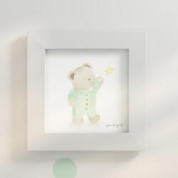 Quadro Ursinho e Estrela Verde 20cm