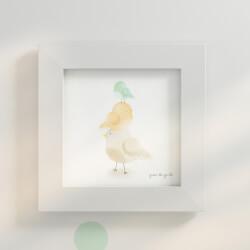 Quadro Passarinhos Verde/Amarelo 20cm