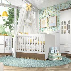 Quarto de Bebê Retrô Ayla Branco/Amadeirado com Berço/Cômoda/Guarda-Roupa de 3 Portas