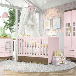 Quarto de Bebê Retrô Ayla Rosa/Amadeirado com Berço/Cômoda/Guarda-Roupa de 3 Portas