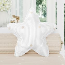 Almofada Estrela Tricot Poá Bege 30cm