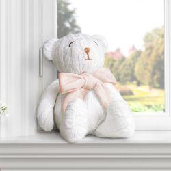 Urso Tricot Off White/Salmão 42cm